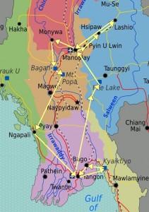 2014 Myanmar Reiseroute